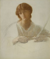 Study fot The Blessed Damozel, by Dante Gabriel Rossetti. E
