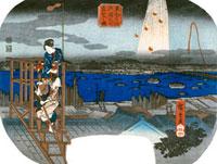 Distant View of Fireworks at Ryogoku, by Utagawa Hiroshige. 20048002568| 写真素材・ストックフォト・画像・イラスト素材|アマナイメージズ