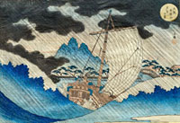 Storm in Tempozan Harbour, by Yashima Gakutei. Japan, 19th 20048002676| 写真素材・ストックフォト・画像・イラスト素材|アマナイメージズ