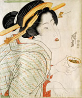 Geisha with Sake Cup, by Keisai Eisen. Japan, 19th century