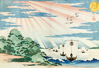 Ships entering Tempozan Harbour, by Gakutei. Japan, 19th ce