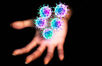 Hand with glowing HIV viruses-47