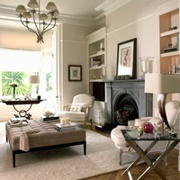 An elegant living room with a fireplace and a mixture of fur