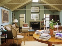 A country style, traditional sitting room, panelled slanted