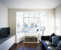 Living room with mixture of styles - modern leather sofa com