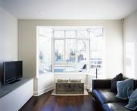 Living room with mixture of styles - modern leather sofa com 20052012264  写真素材・ストックフォト・画像・イラスト素材 アマナイメージズ