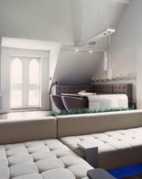 Light, designer corner couch in front of stylish dining area