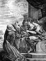 Galileo presenting his telescope to the Muses, and pointing out a heliocentric system of the universe