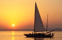 Sailing At Sunset. Siofok. Lake Balaton. Hungary