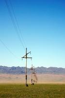 Electricity Pylons. Gobi Desert. Mongolia