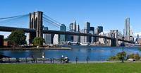 Usa. New York Skyline and The Brooklyn Bridge