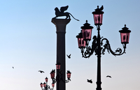 Italy. Veneto. Venice. Piazza San Marco With Column of the Winged Lion of St. Mark