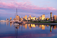 Canada. Vancouver Downtown Skyline. Morning Dawn Reflections