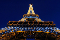 France. Paris. The Eiffel Tower Illuminated At Night
