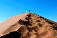Africa. Namibia. People Climbing Dune in The Desert