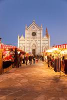 Italy. Tuscany. Florence. Santa Croce Church and Christmas Market.