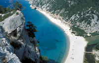 Sardinia. Cala Luna. Orosei. Aerial View Of The Coastline and The Limestone Cliffs