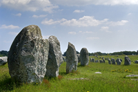 Standing stones in the Menec alignment at Carnac, Morbihan, Brittany, France. (Photo by: Arterra/UIG)
