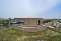 The pentagonal Fort Napoleon with restaurant and terrace in the dunes at Ostend, Belgium. (Photo by: Arterra/UIG)