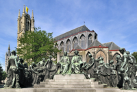 Monument in honour of the Van Eyck brothers and the Saint Bavo cathedral in Ghent, Belgium. (Photo by: Arterra/UIG)