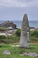 Kergoarat menhir / Saint-Eden menhir / Cam Louis menhir near Plouescat, Finistere, Brittany, France. (Photo by: Arterra/UIG)