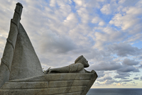 Pointe du Roselier monument in memory of the perished sailors at sea, Plerin, Brittany, France. (Photo by: Arterra/UIG)