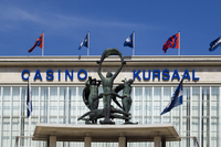 Entrance of the Ostend Casino Kursaal along the Belgian North sea coast, Belgium. (Photo by: Arterra/UIG)