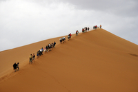 Tourists climbing red sand dune in Sossusvlei / Sossus Vlei in the Namib desert, Namibia, South Africa. (Photo by: Arterra/UIG)