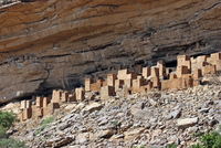 Dwelling of the Tellem people on the Bandiagara escarpment above Tela village, Dogon Country, Mali, West Africa. (Photo by: Arte