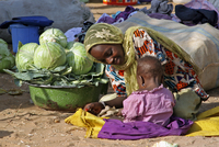 Mother with baby selling vegetables at market in the town Zinder, Niger, Western Africa. (Photo by: Arterra/UIG)