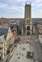View from belfry over the Saint-Bavo's square and the Saint-Bavo's cathedral / Sint-Baafs Cathedral at Ghent, Belgium. (Photo by