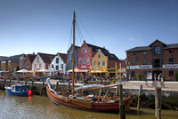 The fishing port of the town Husum along the North Sea, Germany. (Photo by: Arterra/UIG)