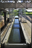 Hydraulic boat lift on the old Canal du Centre at Houdeng-Goegnies near La Louviere in the Sillon industriel of Wallonia, Belgiu