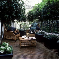 London garden designed by Xa Tollemache with rattan furnitur