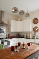 Kitchen diner painted in Farrow and Ball Strong White with f