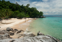 White Sandy Beach, Turquoise Water With Tropical Vegetation