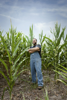 Young Farmer Proudly Posing By His Cornfield 20055008296| 写真素材・ストックフォト・画像・イラスト素材|アマナイメージズ