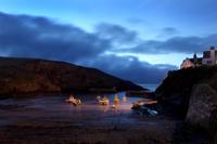 Fishing Boats Moored At Night, Deep Blue Sky, Fishing Villag
