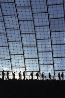 Football Fans Leaving Stadium In Silhouette In A Line. Glass