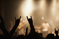 People Putting Their Hands Up In A Crowd At A Rock Concert.