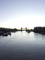 Tower Bridge, Hms Belfast, And River Thames At Dawn, London,