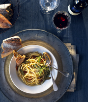 Pasta, Bread And Wine Place Setting For One, Shot From Overh