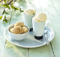 Serving Plate With Ice Cream In Cups And Bowls.