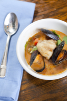 Coconut Curry cioppino With Monk Fish, Mussels And Broth