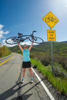 woman with her road bike, Salt Lake City, Utah.
