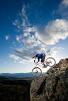 man mountain biking; Washoe County; Nevada.