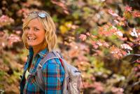 woman in the fall trees, Salt Lake City, Utah.