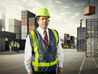 Portrait of a manager at a large US port