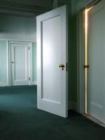 Doors with light shinning through