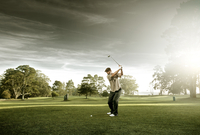 Man taking a golf swing